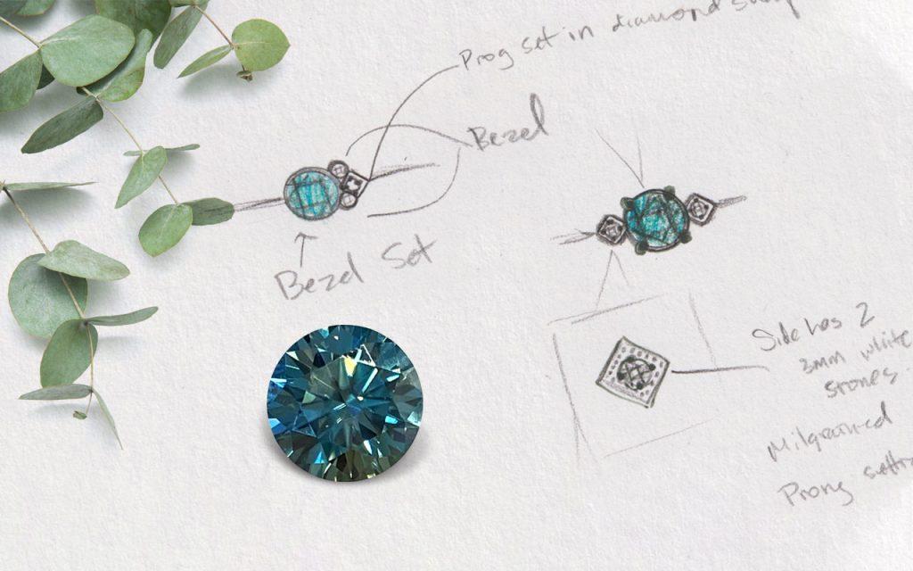 Green Moissanite Custom Engagement Ring