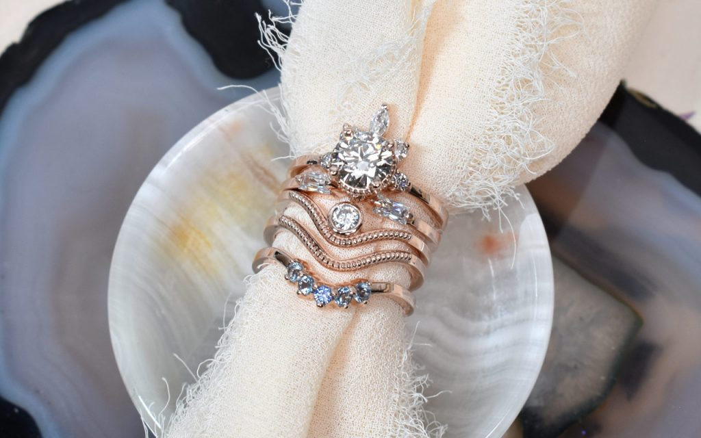 reimagined and repurpose engagement ring after divorce stacking ring set